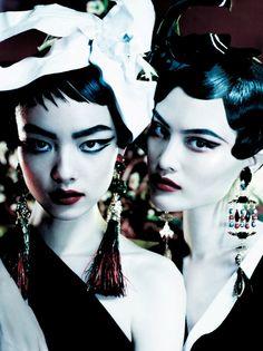 Publication: Vogue UK March 2013  Models: Sui He, Sung Hee Kim, Ji Hye Park & Fei Fei Sun  Photographer: Mario Testino  Fashion Editor: Lucinda Chambers  Hair: Sam McKnight  Make-up: Linda Cantello  Nails: Sophy Robson