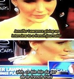 jennifer lawrence giving an interview to a french journalist