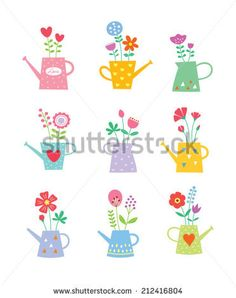beautiful watering can vector