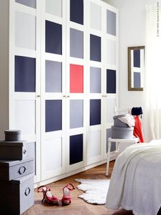 Great Ikea PAX BERGSBO wardrobe hack! Paint or stick colored paper on the squares on the door. Looks fab!