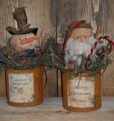 Primitive Pattern Christmas Cans Snowman and Santa In Rusty Old Cans Awesome ! Primitive Christmas Ornaments, Prim Christmas, Primitive Snowmen, Primitive Crafts, Country Christmas, Winter Christmas, Vintage Christmas, Christmas Crafts, Christmas Decorations