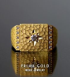 Prima Gold Japan: Pure gold diamond mark stand ring ring men man yellow gold gift present birthday memorial day present gold jewelry accessories brand metal guarantee of quality popularity prima ballerina gold PRIMAGOLD Mens Gold Rings, Mens Gold Jewelry, Gold Jewelry Simple, Black Gold Jewelry, Rings For Men, Gold Jewellery, Boys Gold Ring, Jewellery Designs, 24k Gold Ring