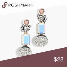 Jcrew Iridescent Drop Earrings Long earrings with iridescent gem & tortoise pave (rhinestone) ball. J. Crew Jewelry Earrings