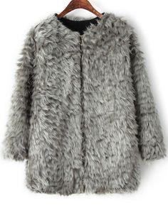 Grey Long Sleeve Faux Fur Coat - abaday.com