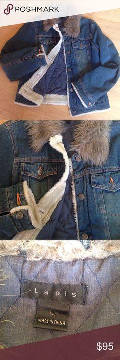 NWOT. Custom embellished Denim Jacket NWOT. Show stopping. Custom embellished Denim jacket. Faux fur collar and parts of the inside as shown. Padded for warmth. Super soft denim almost blanket like. Back panel lavishly decorated. Size Large. Jackets & Coats Jean Jackets
