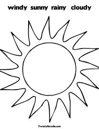Sun with clouds coloring page 1s Suns Moons Stars Silhouettes