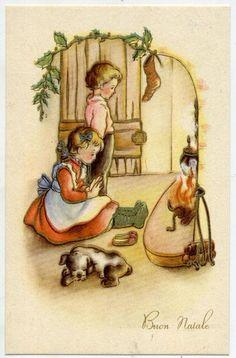 Bambini al Caminetto Calza della Befana Cane Natale Xmas Dog PC Circa 1930 Italy