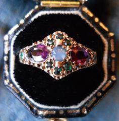 Antique Victorian Amethyst Garnet Emerald Opal Ring from VictorianSpiritRings on etsy