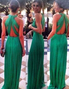 Sexy A-line Halter Criss-cross Back Green Chiffon Prom Dress
