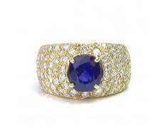 Estate 2.50 ct Sapphire & 2.00 ctw Diamond 14K Yellow Gold Ring Approx.Wt.