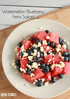 Watermelon blueberry feta salad is an easy and refreshing summertime salad