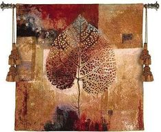 """Abstract Autumn Tapestry Wall Hanging""     The colors of the wall covering depicts warm organically abstract leaves in earth"