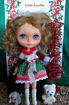 BLYTHE or Pullip DOLL Dress - OOAK -  Christmas Cheer/Layers of dots & stripes in red and green by LittleLovelieShop on Etsy