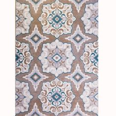 Set chic style underfoot with this eye-catching rug, featuring a bold medallion motif in beige, teal, and taupe hues.