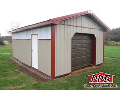 "Dimensions: 16' W x 24' L x 8' 4"" H 16' Standard Trusses, 4' on Center, 4/12 Pitch  Colors: Siding Color: Clay Roofing Color: Brown Trim Color: Red  Openings: (1) 8' x 7' Garage Door with Dutch Corners (1) 3068 6-Panel Entry Door  Overhangs: Eaves & Gables: 1' Soffit: Brown Aluminum  Miscellaneous: 24 ft. of 2' Sidelights 24 ft. Ridge Vent 2"" x 6"" Skirtboard .60 Treated"