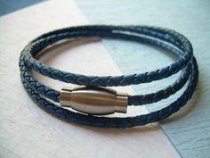 Triple Wrap Leather Bracelet with by UrbanSurvivalGearUSA on Etsy