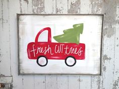 Big red truck with Christmas tree rustic wood sign by katieruebel on Etsy https://www.etsy.com/listing/256477082/big-red-truck-with-christmas-tree-rustic