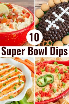 The big game isn't complete without a dip at your Super Bowl Party. These easy dip recipes won't disappoint your guests. There is something for everyone including sweet, savory and spicy. Includes crock pot dips, make ahead dips, cold dips and hot dips. Spicy Appetizers, Appetizer Recipes, Appetizers Superbowl, Thanksgiving Appetizers, Spicy Recipes, Dip Recipes, Potluck Recipes, Party Recipes, Copycat Recipes