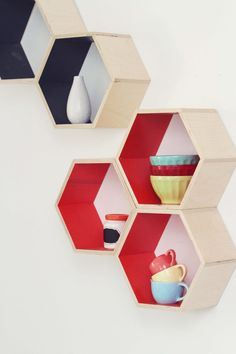 Orange Floating Honeycomb Shelves  Set of 5