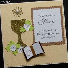 Handmade Communion Greeting Card to which the implementation of the 3D elements were used. The main components used to make the cards and host chaice made of pearls. Chaice at the base was decorated with the bible, which is a white Host. Everything is placed on the additional cream ribbed background. http://www.handmadecards24.co.uk/product/first_holy_communion_meeting_jesus