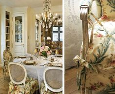 Dining Room - Slipcovers, French floral linen fabric.  www.lindafloyd.com