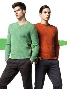 """Fall/Winter 2012 Man Collection - Look 05.    This almost space dye sweater is a great idea for this fall. its not too splotchy, which is good cause you wouldn't want that nasty, """"i made this out of that layer of fabric they put under carpets to make them softer"""" look. that's just gross."""