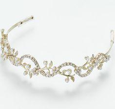 Pearl Rhinestone Wedding Tiara in Gold