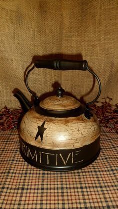 Primitive Wood Teapot Tea Kettle Black Tan Crackle Country Farmhouse Decor | eBay