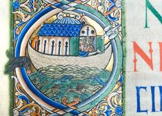 "The Winchester Bible, housed in the Cathedral Library, is the largest and perhaps finest of all surviving 12th-century English bibles.   ""The Flood: Noah peers anxiously from the Ark."""