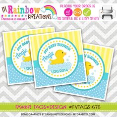 FVTAGS-676: DIY   Rubber Ducky Favor Tags Or by LilRbwKreations