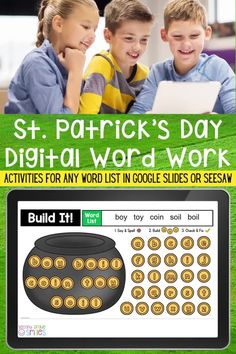 St. Patrick's Day fun made digital! Includes themed interactive word work activities for any word list with moveable letter tiles. Use them again and again this March with any set of spelling words or high-frequency words. Just click to type in your own list! These fun activities are ideal for both distance learning and everyday classroom use in first grade, second grade, third grade, or kindergarten. Assign right in Seesaw or Google Classroom. Teaching Vocabulary, Teaching Phonics, Teaching Kindergarten, Teaching Ideas, Word Work Games, Word Work Centers, Word Work Activities, Teaching Second Grade, Third Grade