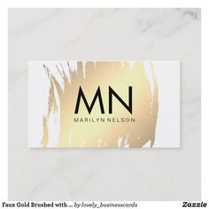 Faux Gold Brushed with Chic Monogram Business Card