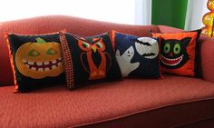 DIY Halloween Pillows (comes with appliqué patterns!)
