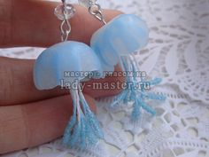 Tutorial for jellyfish earrings in polymer clay - in Russian
