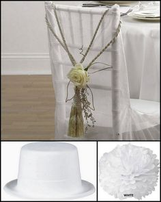 Simply but pretty floral chair decor (imagine with lilac or lilies, perhaps, and raffia or twine, twigs, etc.