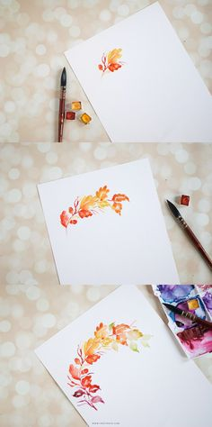 DIY watercolor fall wreath. Click on to learn how to paint them | Inkstruck…