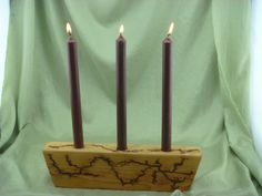 Rustic Candle Holder by FrillsElectricWood on Etsy