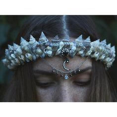 shell crown ($96) ❤ liked on Polyvore featuring home, home decor, mermaid home decor and handmade home decor