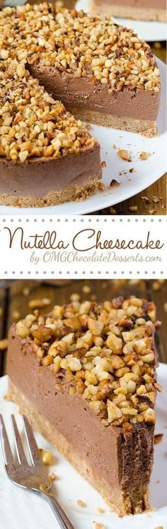 Quick but a decadent cake at the same time - Nutella Cheesecake. All you need is Graham Crackers, cream cheese, Nutella and some nuts, and only 40 minutes. by janet
