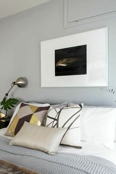 Channels Ebony Ivory and Kubus Gold custom designer pillows from Arianna Belle Childrens Bedroom Furniture, Bedroom Decor, Grey Bedroom With Pop Of Color, Bedroom Design Inspiration, White Sheets, Higher Design, Geometric Pillow, Decorative Cushions, Designer Pillow
