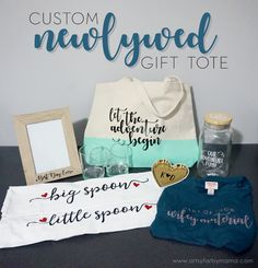 Create multiple gifts and combine them into one in a Custom Newlywed Gift Tote @Cricut  #Cricut