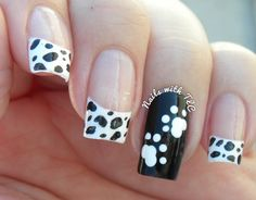 """Dalmation Puppy"" nail art by Tawnee L. Cordova. Follow and like me on Pinterest & Facebook to see more weekly designs. Thank you! :-)"
