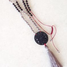 Black onyx & labradorite tassel necklace