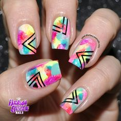 Instagram photo by dramaqueennails #nail #nails #nailart  Geometric designs over rainbow watercolor nail art.  Black stamps, ink or stickers for easy hipster nails.