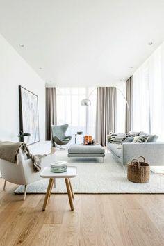 salon minimaliste, tapis gris, meubles bas en couleur gris