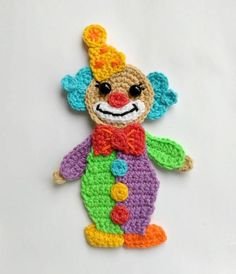 Pattern Clown Applique Crochet Pattern P - Diy Crafts Crochet Car, Crochet Amigurumi, Crochet Gifts, Crochet Toys, Blanket Crochet, Crochet Applique Patterns Free, Crochet Motifs, Crochet Stitches, Crochet Appliques