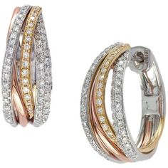 Effy Collection Diamond Hoop Earrings In 14 Kt. Tri Tone Gold, .52ct.... ($1,860) ❤ liked on Polyvore