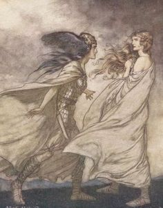 "Brünnhilde is visited by her Valkyrie sister Waltraute"", illustration to Richard Wagner's The Ring"