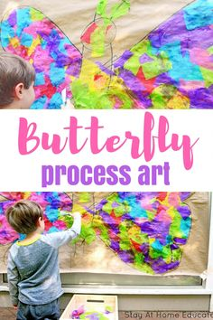 GIANT wall art is a perfect process art project. This butterfly collage art for kids will strengthen your preschooler's Process Art Preschool, Preschool Art Projects, Preschool Activities, Preschool Art Lessons, Classroom Crafts, Creative Activities, Classroom Ideas, Insect Activities, Spring Activities