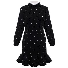 Black Frill High Neck Polka Dot Print Ruffle Hem Dress ($45) ❤ liked on Polyvore featuring dresses, spandex dress, black dress, frilly dress, lycra dress and black day dress